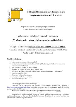 na bezplatný celodenný praktický workshop Vyhľadávanie v
