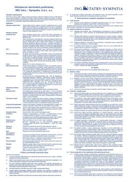 Všeobecné obchodné podmienky ING Tatry – Sympatia, dds, as