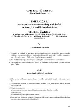 SMERNICA č. pre organizáciu autoprevádzky