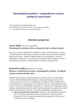 Abstrakty príspevkov - Ústav etnológie SAV