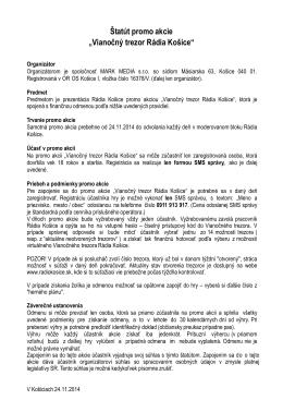 """Štatút promo akcie """"Vianočný trezor Rádia Košice"""""""