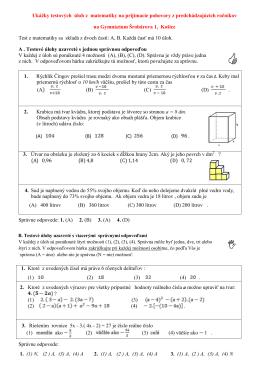 Ukážky testových úloh z matematiky na prijímacie pohovory z