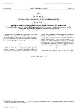 127/2014 Vyhláška Ministerstva zdravotníctva Slovenskej republiky