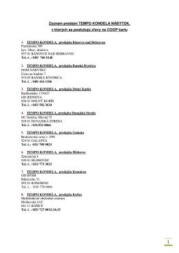 Zoznam predajní TEMPO KONDELA NÁBYTOK, v ktorých sa