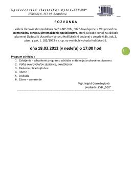 dňa 18.03.2012 (v nedeľu) o 17,00 hod