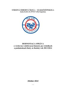 Hodnotiaca správa 2013/2014
