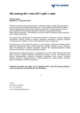 VB Leasing SK v roku 2011 opäť v raste