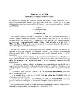 Smernica č. 6/2014 o verejnom obstarávaní