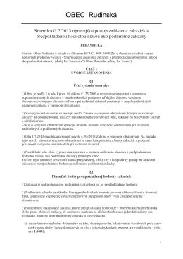 INTERNÁ SMERNICA č. 2/2013 upravujúca postup