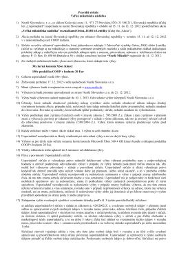 Pravidlá súťaže Veľká mikulášska nádielka 1) Nestlé Slovensko sro