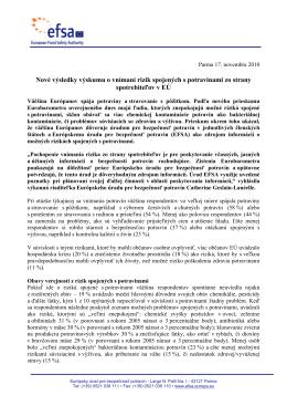 Nové výsledky výskumu o vnímaní rizík spojených s - EFSA