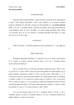N a j v y š š í s ú d 3 Tdo 38/2014 Slovenskej
