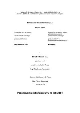 Podniková kolektívna zmluva ST, a.s. na rok 2014