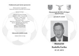 Memoriál Rudolfa Čuríka, Horná Poruba 2013