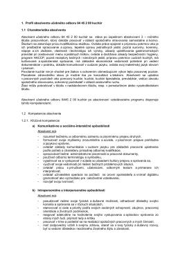 1. Profil absolventa učebného odboru 64 45 2 00 kuchár 1.1