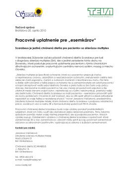 Tlačová správa Chránená dielňa Scarabeus pre pacientov SM
