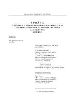 Hodnotiaca správa 2010-2011 - 13.10.2011