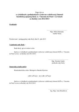 Správa MŠ - Základná škola sv. Vincenta de Paul Levice