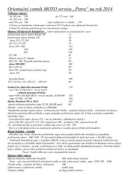 """Orientačný cenník MOTO servisu """"Petra"""" na rok 2014"""