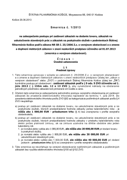 Smernica č. 1/2013 - Štátna filharmónia Košice