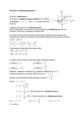 PL Kružnica v analytickej geometrii 1