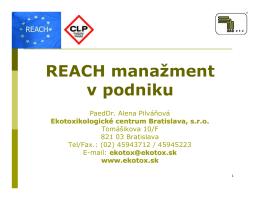 REACH manažment v podniku - Go