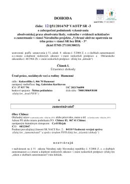 DOHODA číslo: 12/§51/2014/NP VAOTP SR-3