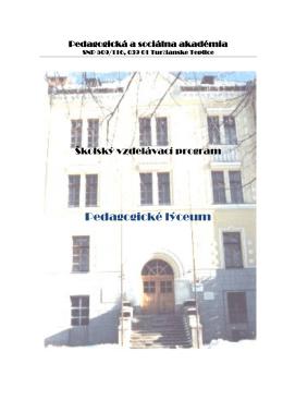 Pedagogické lýceum - Pedagogická a sociálna akadémia