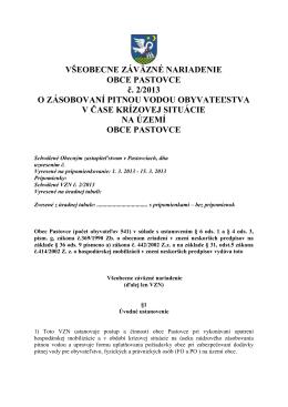 VŠEOBECNE ZÁVÄZNÉ NARIADENIE OBCE PASTOVCE č. 2/2013