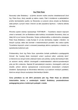 Ing. Peter Koza - laudácium