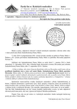 7. September 2014 - Farnosť sv. košických mučeníkov