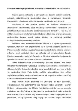 Prejav - Univerzita Komenského