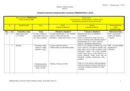 Tematický výchovno-vzdelávací plán z predmetu PRÍRODOVEDA 4