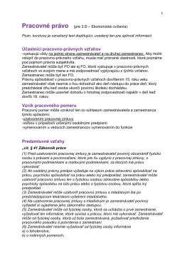 Účastníci pracovno-právnych vzťahov Vznik pracovného pomeru