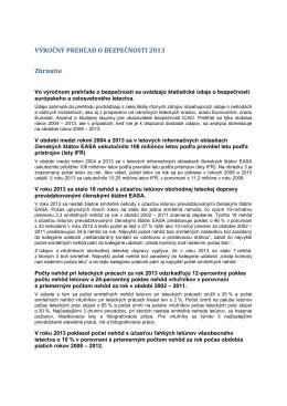VÝROČNÝ PREHĽAD O BEZPEČNOSTI 2013 - EASA