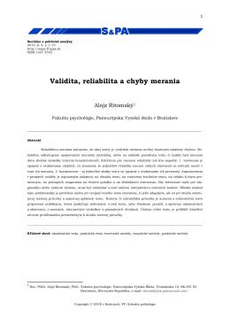 Validita, reliabilita a chyby merania