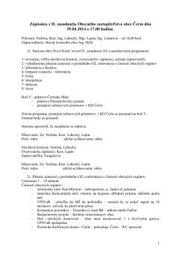 Zápisnica z II. zasadnutia Obecného zastupiteľstva obce