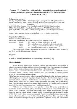 Program 17 - KATEDRA PEDOLÓGIE A GEOLÓGIE