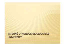Interné výkonové ukazovatele univerzity