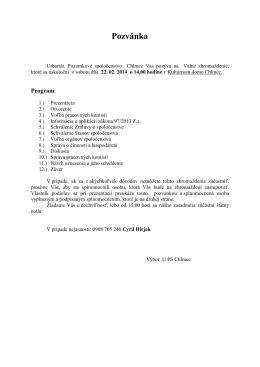 Pozvánka - Obec Chlmec