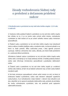 Zásady rozhodovania Súdnej rady o preložení a dočasnom