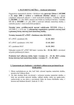 Základné podklady na MS 2013