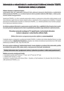 Informácie o rekonštrukcii a modernizácii káblovej