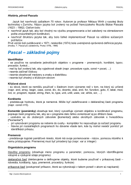 Pascal – základné pojmy