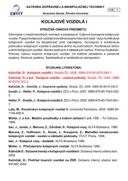 Úvod, predpisy, koncepcia KV - Strojnícka fakulta