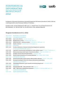 Program konferencie 15. 2. 2012