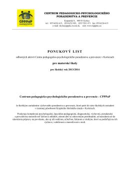 Ponukový list odborných aktivít CPPPaP pre materské školy v