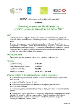HSBC Eco-Schools Klimatická iniciatíva 2012