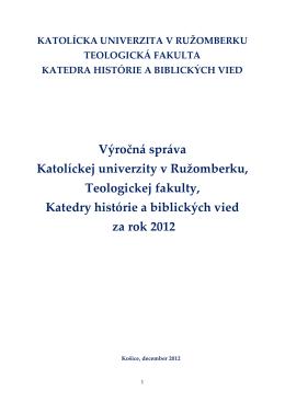Výročná správa katedry za rok 2012