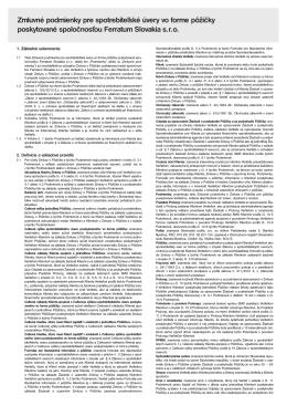 Zmluvné podmienky pre spotrebiteľské úvery vo forme